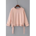 Ribbons Hem Embellished Round Neck Long Sleeve Plain Sweatshirt