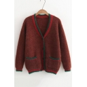 Fashion Color Block Long Sleeve V Neck Buttons Down Cardigan with Double Pockets