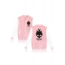 New Trendy Color Block Fashion Printed Stand-Up Collar Buttons Down Baseball Jacket