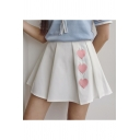 Summer's High Waist Fashion Heart Embroidered Mini A-Line Pleated Skirt