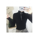 New Fashion Zip Up High Neck Long Sleeve Simple Plain Slim T-Shirt