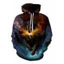 Hot Popular Digital Galaxy Wolf Printed Long Sleeve Casual Sports Hoodie