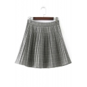 New Arrival Classic Plaids Print High Waist Mini A-Line Pleated Skirt
