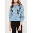 Floral Embroidered Button Down Long Sleeve Denim Shirt