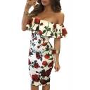 Sexy Off The Shoulder Ruffle Hem Chic Floral Pattern Midi Bodycon Dress