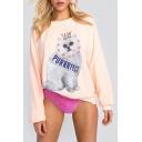 Cartoon Crown Cat Pattern Long Sleeve Round Neck Casual Leisure Sweatshirt