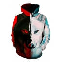 New Arrival 3D Color Block Wolf Pattern Long Sleeve Sports Casual Hoodie
