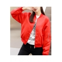 Fashion Girl Pattern Back Stand-Up Collar Long Sleeve Zip Up Baseball Jacket