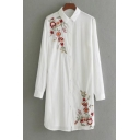Chic Floral Embroidered Lapel Collar Long Sleeve Buttons Down Tunic Shirt
