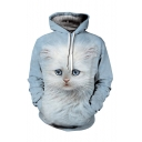 Lovely Digital Cat Pattern Casual Leisure Long Sleeve Sports Unisex Hoodie