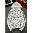 Cartoon Pattern Color Block Long Sleeve Hooded Zip Up Unisex Coat