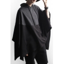 New Arrival Fashion Color Block Asymmetrical Hem Hooded Cape Coat