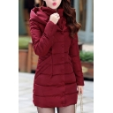 Winter's Warm Slim Hooded Long Sleeve Basic Simple Plain Buttons Down Padded Coat