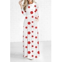 Christmas Theme Fashion Printed Maxi Round Neck Long Sleeve Dress