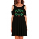 Hot Popular Cartoon Bat Pattern Short Sleeve Cold Shoulder Midi T-Shirt Dress