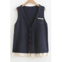 Chic Lace Patched Hem V Neck Sleeveless Buttons Down Cardigan with Single Pocket