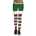 New Fashion Christmas Theme Striped Printed Elastic Waist Yoga Leggings