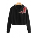 Chic Floral Embroidered Shoulder Long Sleeve Leisure Cropped Hoodie