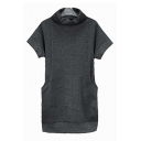 New Arrival Turtle Neck Short Sleeve Simple Plain Tunic Sweater