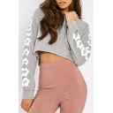 Hot Popular Letter Pattern Long Sleeve Sports Casual Sexy Cropped Hoodie