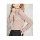 New Fashion Lace-Up Side Basic Simple Plain Round Neck Long Sleeve Sweater