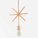 Industrial Vintage Hanging Pendant Light Open Bulb Style with Star Metal Frame