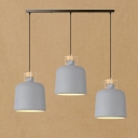 Industrial 3 Light Multi Light Pendant with Cylinder Shade, Gray