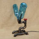 Industrial Desk Lamp LOFT Valve Decorative Pipe Fixture with Blue Bottle Shade in Bronze Finish