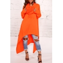 New Fashion Simple Plain Loose Oversize High Low Hem Long Sleeve Tunic Hoodie