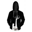 Fashion Digital Dropped Milk Pattern Long Sleeve Loose Oversize Zip Up Hoodie