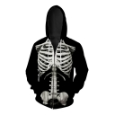 Fashion Digital Skeleton Pattern Long Sleeve Oversize Loose Zip Up Hoodie