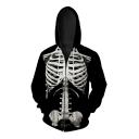 Fashion Digital Skeleton Pattern Long Sleeve Oversize Loose Zip Up Hoodie