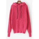 New Arrival Fashion Simple Plain Hooded Long Sleeve Pullover Sweater