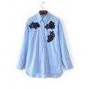 Chic Beading Floral Embroidered Long Sleeve Lapel Collar Buttons Down Striped Shirt