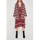 Fashion Tassel Hem Lapel Collar Long Sleeve Chic Jacquard Warm Coat