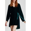 New Trendy Chic Velvet Simple Plain Long Sleeve Hoodie Mini Wrap Dress