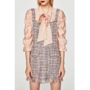 Classic Plaids Printed Fashion Tassel Hem Mini Overall Dress with Double Pockets