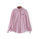 Letter Embroidered Grommet Detail Lapel Stripe Long Sleeve Shirt with Chest Patch Pocket