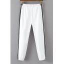 Color Block Double-Stripe Side Elastic Waist Sports Pants