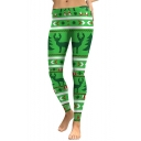 Fashion Christmas Elk Snowflake Pattern Elastic Waist Skinny Leggings