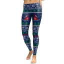 Christmas Trees Pattern Elastic Waist Leisure Sports Skinny Leggings