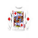 Fashion Digital Playing Card Printed Long Sleeve Round Neck Pullover Sweatshirt