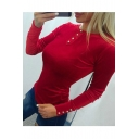 Chic Buttons Embellished Round Neck Long Sleeve Sexy Slim Plain T-Shirt