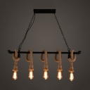 Industrial Vintage Multi Light Pendant Light in Wrought Iron and French Country Style