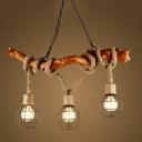 Industrial Vintage Multi Light Pendant Light 3 Light Wood Decoration with Metal Cage Frame