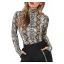 New Trendy Stylish Snake Pattern High Neck Long Sleeve Slim Bodysuit