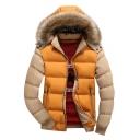 Winter's New Trendy Color Block Long Sleeve Fur Hooded Zip Up Padded Coat