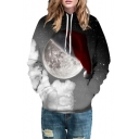New Trendy Digital Galaxy Christmas Hat Moon Pattern Hoodie for Couple
