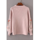 Chic Floral Embroidered Long Sleeve Round Neck Comfort Pullover Sweater
