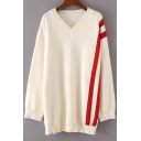 Chic Color Block Striped Printed V Neck Long Sleeve Tunic Comfort Sweater